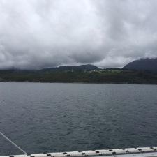 "Sailing north in Langeuan (""long pull"") north of Leirvik in Hordaland"