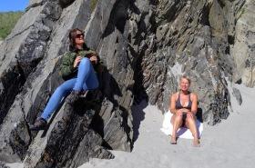 Karen and Hege sunbathing Shetland