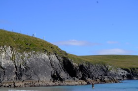 Karen swimming St Ninians beach Shetland