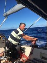 Jan adjusting sails in light winds 18 April